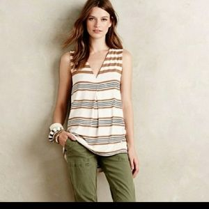 Anthro Deletta striped tank tunic S tent ivory